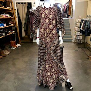 VTG 70s Block Print Pakistan Kaftan Maxi Dress